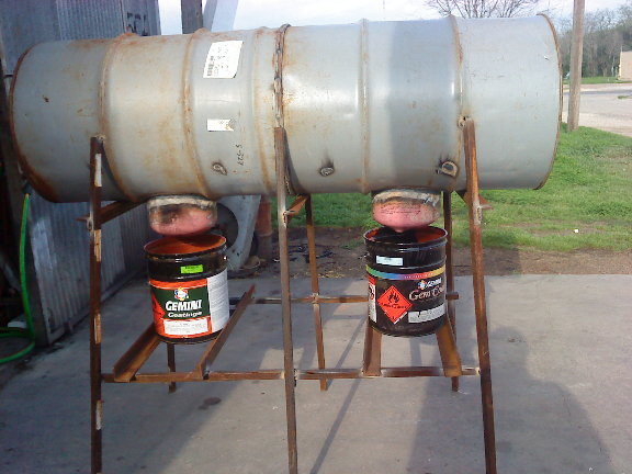 Two 55 Gallon Barrel Welded To Each Other And The Water Boles Is Half Freon  Tanks - 55 Gallon Drum Wood Stove - Wood Boring Insects